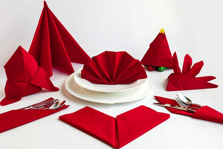 Serviette en Tissu pour Restaurant 17 x 17 Pouces - Paquet De 24 Blanc KITCHLY