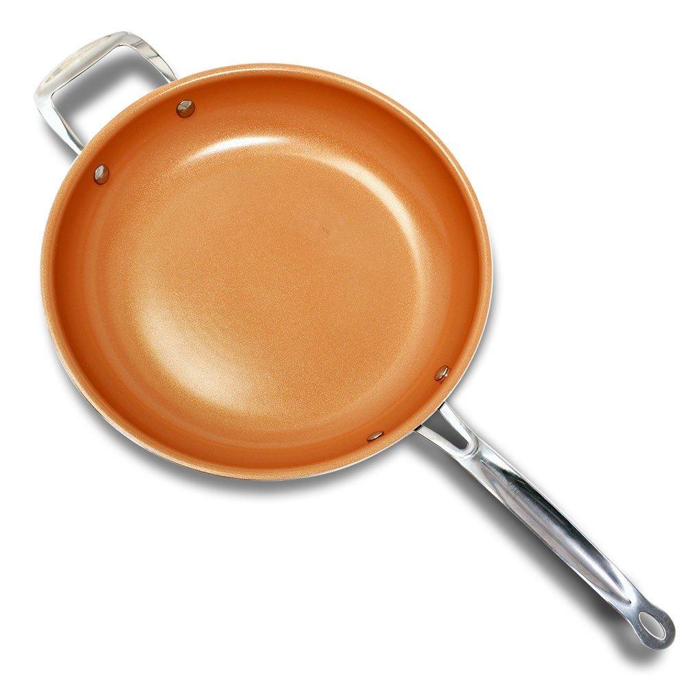 Super Copper Duo - Juego de 2 sartenes de 24 y 28 cm de cerámica y cobre. Sartenes de aluminio con revestimiento antiadherente, con mangos de acero, ...