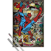 Poster + Hanger: Spider-Man Poster (36x24 inches) The Amazing, Marvel Comics And 1 Set Of Transparent 1art1® Poster Hangers