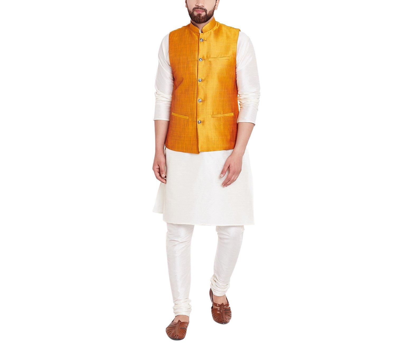 Sojanya Men's Dupion Silk Nehru Jacket XX-Large Mustard