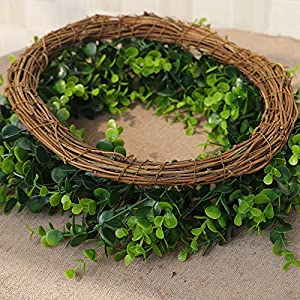Karooch DIY Simulation Artificial Wreath Wall-Mounted Ornament Rose Eucalyptus Leaves Green Plant Burlap Garland Window Door Hanging Decor for Wedding Ceremony Party Home Garden (Green Plant) 4