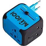 Voyage Adaptateur avec 2 USB MILOOL Adapteur Chargeur USB Convertisseur pour US UK UA EU Environ 150 Pays Universel Multi- Prise de Courant Chargeur avec Fusible de Sécurité Dual USB(bleu) ...