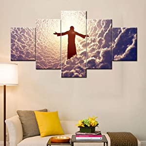 Rustic Wall Art Canvas Jesus Christ Prays Pictures Catholicism Christian Religious Paintings Modern Artwork 5 PCS/Set Home Decor for Living Room,Framed Gallery-wrapped Ready to Hang(60''Wx32''H)