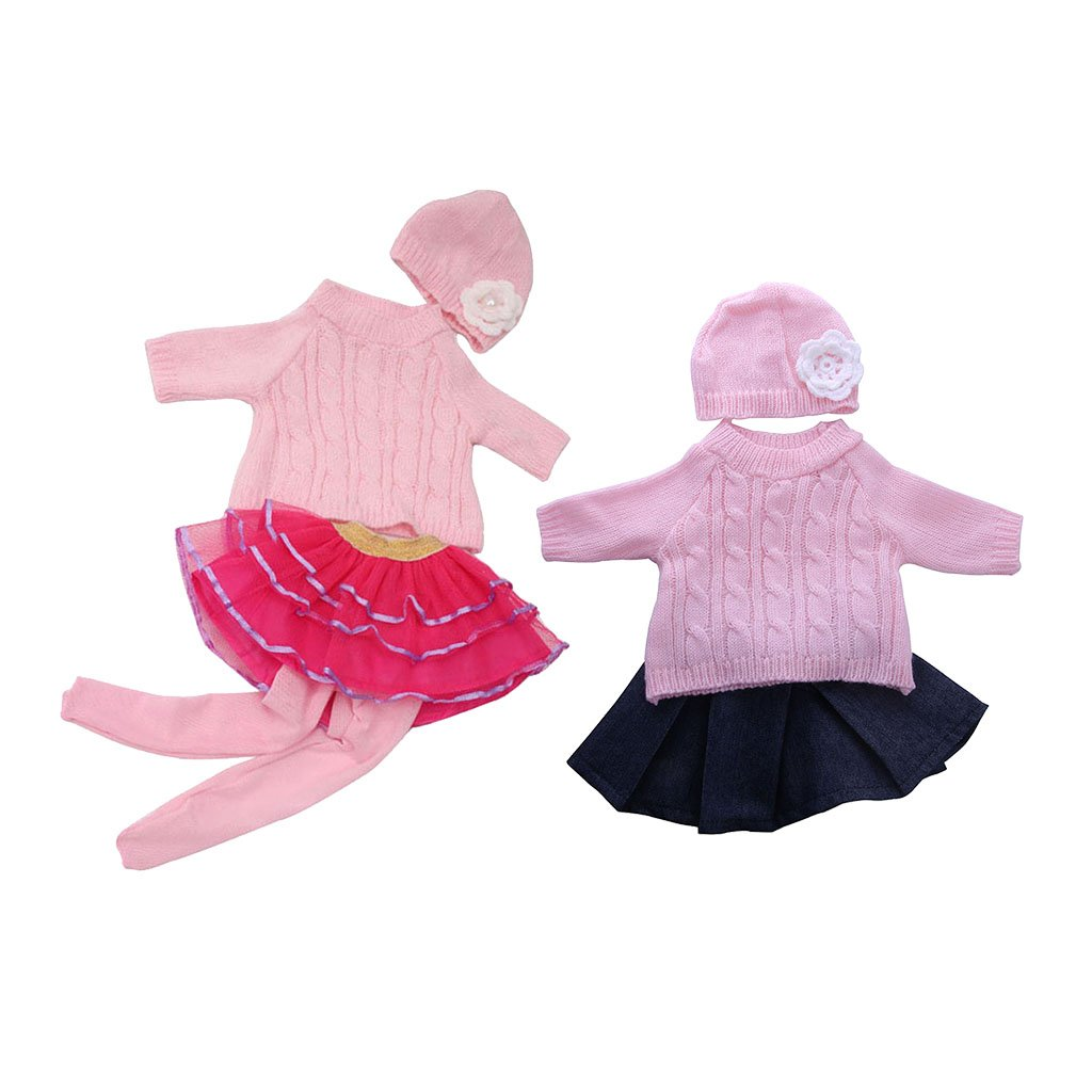 MagiDeal 7pcs Clothes For 18'' American Girl Our Generation Doll Sweater Tops Suit Pleated Skirt Dress Hat Outfit Clothing Accessories