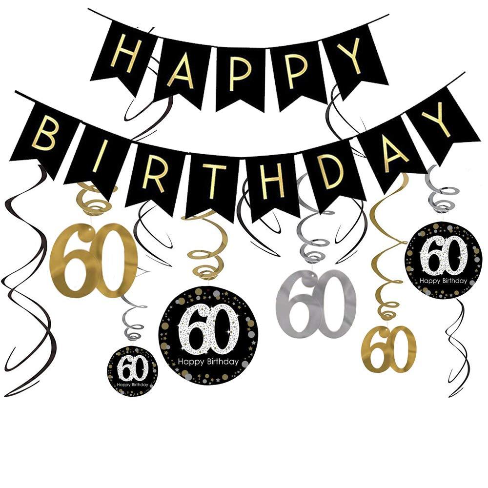 60th Birthday Decorations Kit- Gold Glitter Happy Birthday Banner & Sparkling Celebration 60 Hanging Swirls-60th Anniversary Decorations