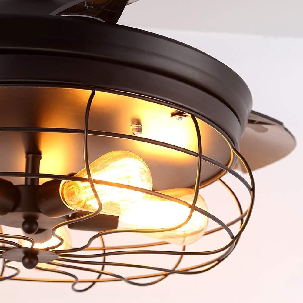 XHMCDZ 42Ventilatore a soffitto Moderno a Scomparsa Ventilatore da soffitto Vintage Ventilatori Metallici industriali retr/ò Apparecchio Leggero per Cucina a soppalco Caffetteria Ristorante Sala da
