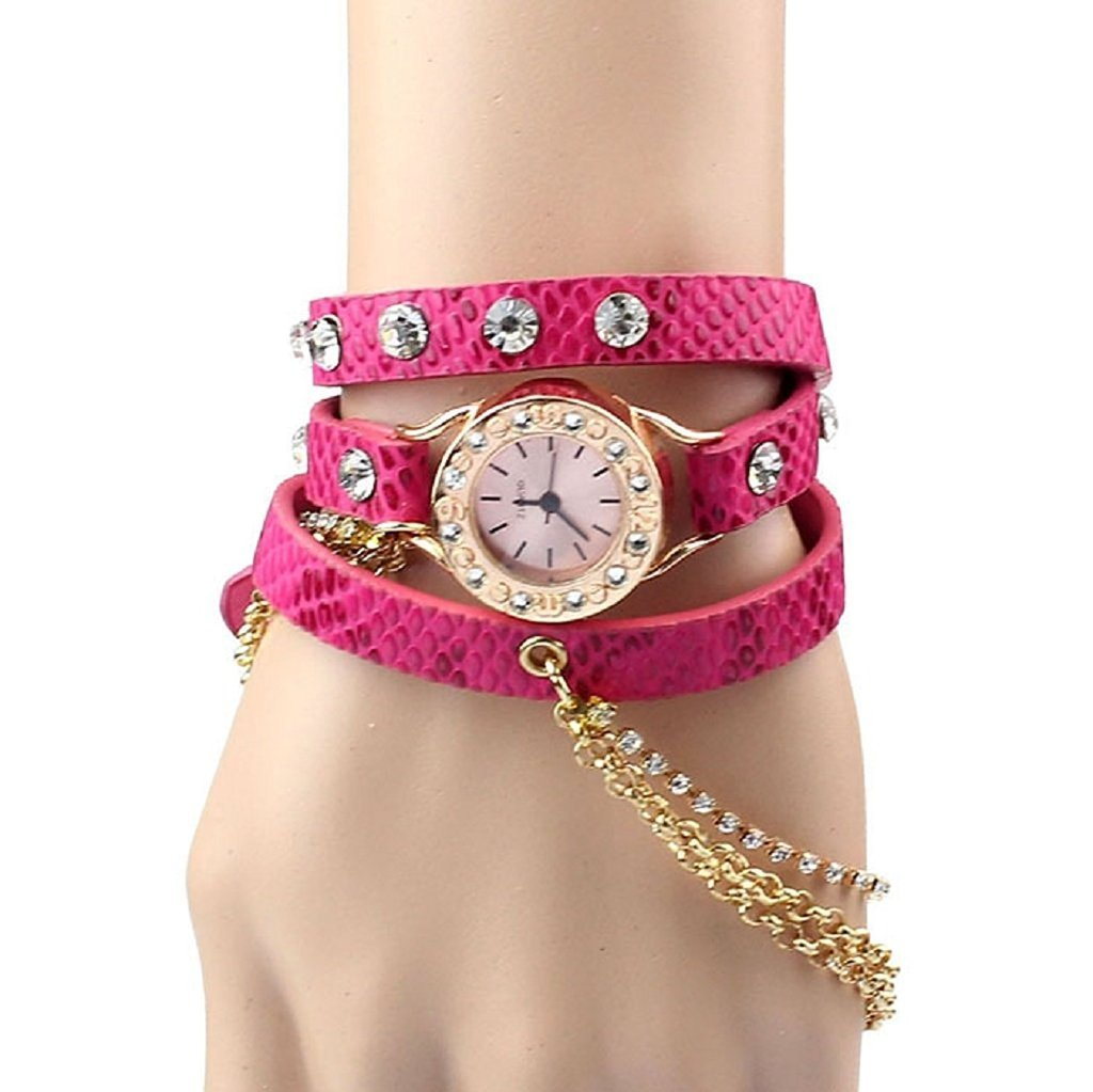 Amazon.com: PromiseU Leather Bracelet Woman Rhinestone Rivet Chain ...