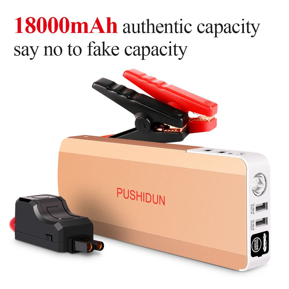 1000A 18000mAh Portable Car Jump Starter Kit with Dual LED Emergency Flashlights Auto Battery Booster Charger Power Pack(up to 6.0L Petrol, 3.0L Diesel Engine) Rose Gold,Aluminum Alloy Shell