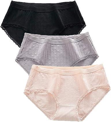 SYNL Ropa Interior para Mujer Algodón de Cintura Media para Mujer Calzoncillos para Niñas Bragas: Amazon.es: Ropa y accesorios