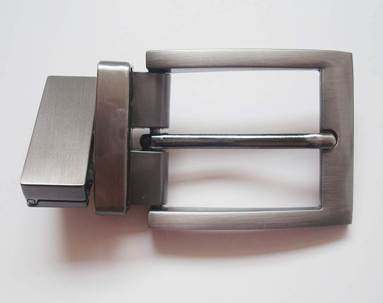 MYIW Gunmetal gray casual cambi/ó de hebilla 1,35 pulgadas 34mm Nickel free zinc vigorosamente la hebilla del cinturon con acabado gris cepillado