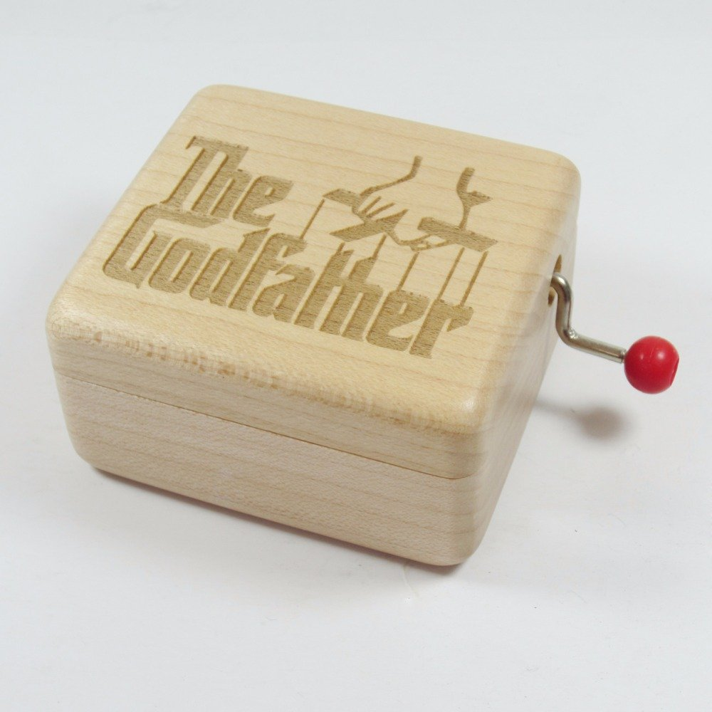 The Godfather Music Box - 18 Note Mechanism Antique Laser Engrave Wood Musical Box Crafts Melody Castle in Hand