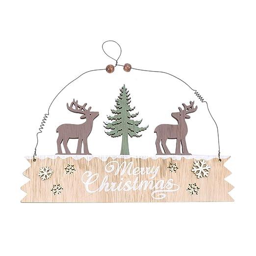 VOSAREA Feliz Navidad Cartel Puerta de Madera Alces de Pared ...