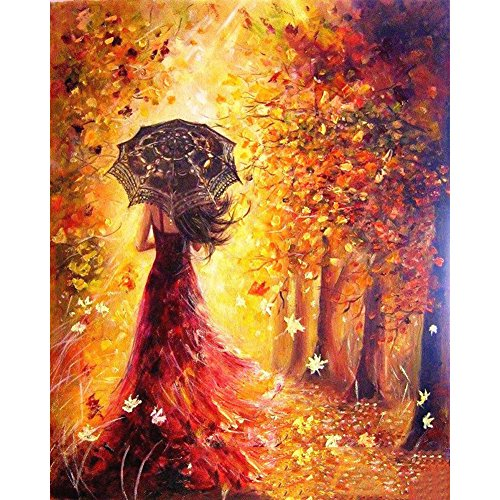 iRainbow Paint By Number Kits for Adults Kids Students Adults Beginner with Brushes and Acrylic Pigment 16 x 20 inch Canvas DIY Oil Painting Unique Gift for Women - Autumn (Girl With Umbrella)