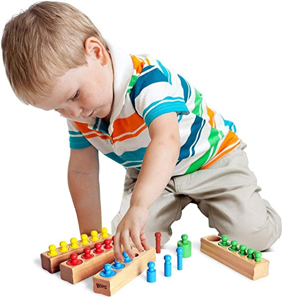 BOHS 4pcs Set de Jouets /à la Maison de Cylindre de Bouton en Bois de Montessori /à la Maison color/é /à la Maison color/é
