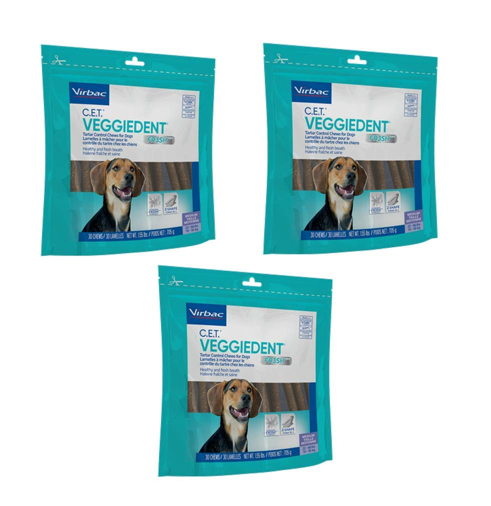 Virbac C.E.T. 3 Pack of VeggieDent Regular Dental Chews for Dogs, 30 Chews Per Pack by Virbac (Image #1)