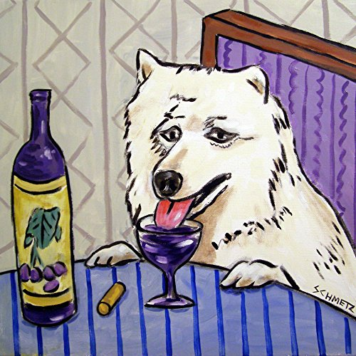 (samoyed wine decor dog art tile coaster gift)