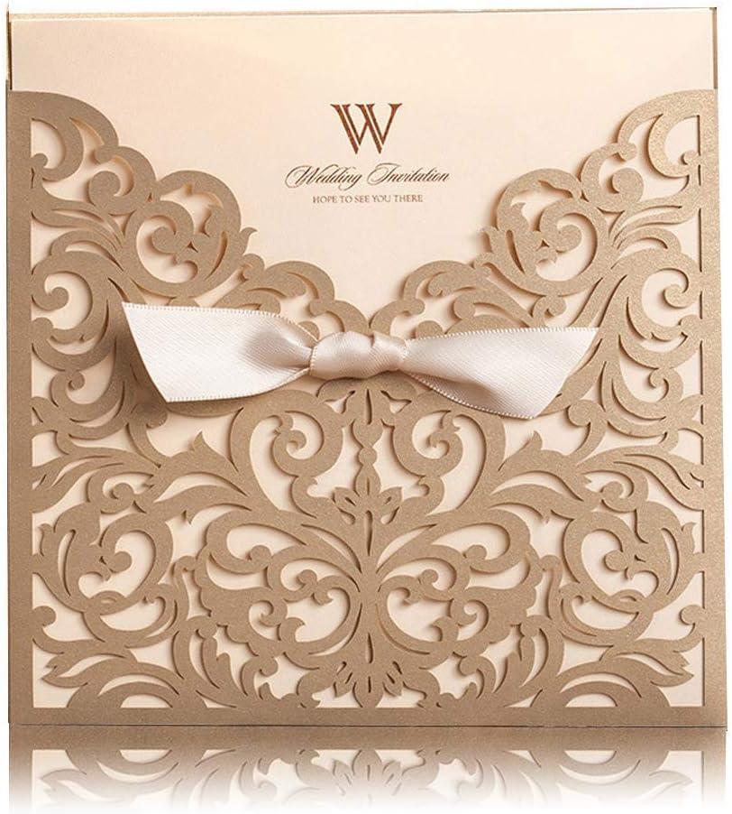 Laser Cut Pocket Fold White Ivory Gold Lace Design no 217 Wedding Invitations