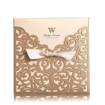 Amazon Com 50 Laser Cut Wedding Invitations Cards Kit Gold Elegant