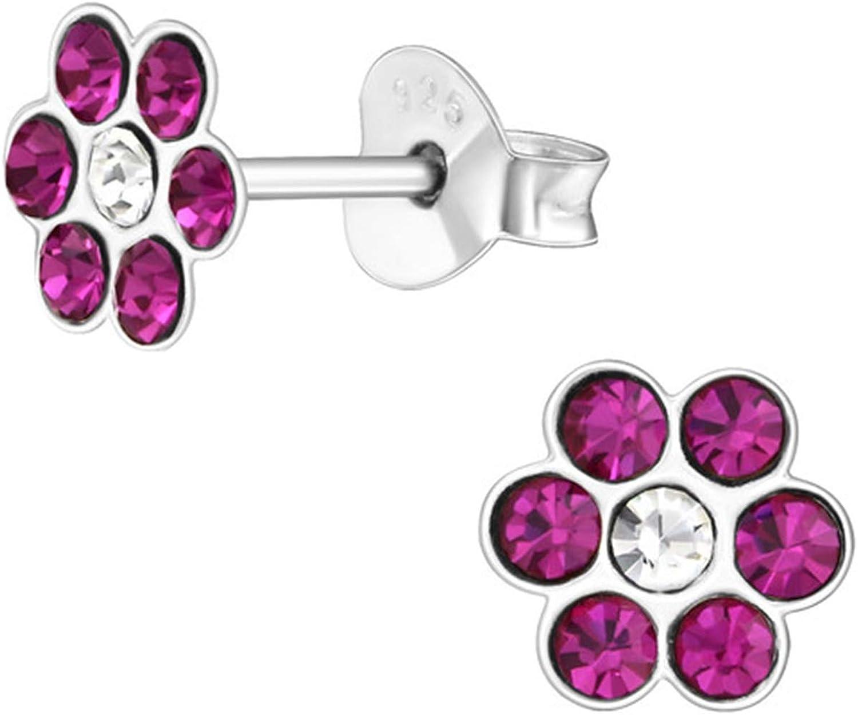 gh1a Frambuesa flor de cristal Pendientes de plata pendientes 925niños regalo Idea