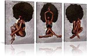 AMEMNY African American Women Canvas 3 Panels Print Art African Wall Black Curly Hair Woman Yoga Paintings Photos Wall Decor for Bedroom Living Room Printed Painting Gifts Framed Ready to Hang