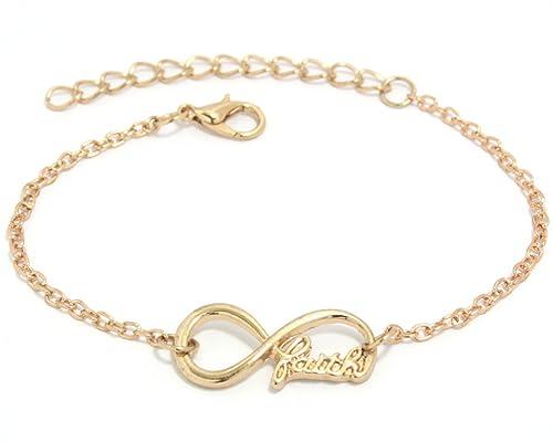a6b8f09a550b 2LIVEfor Armkettchen Silber Gold Armband Unendlich Infinity Armkette Damen  Unendlichkeit Anhänger Schleife glauben Armketten Unendlichkeitszeichen  Faith ...