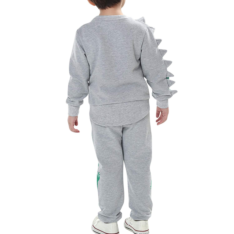De feuilles Kids Boys Long Sleeve Dinosaur Sweatshirt T-Shirt Tops and Pans Trousers Clothes Set Outfit