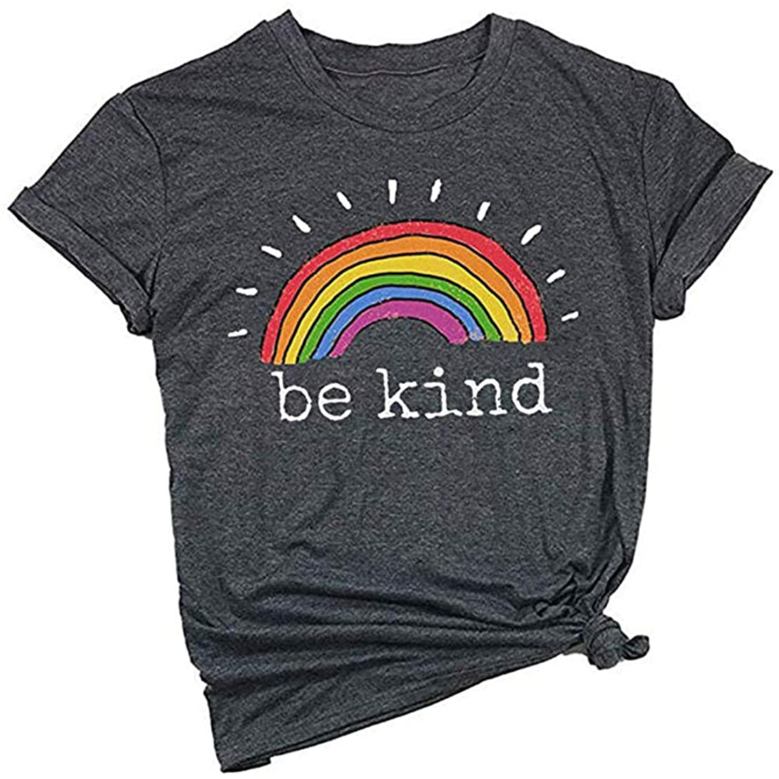 Mahrokh Be Kind Tshirts Women Rainbow Graphic Tees Inspirational T Shirts Casual Short Sleeve Tops