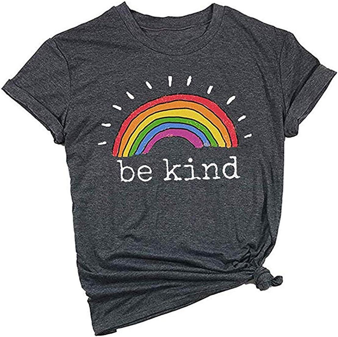Rainbow Faith Be Kind Hope Believe Tshirt printed Womens Kid/'s