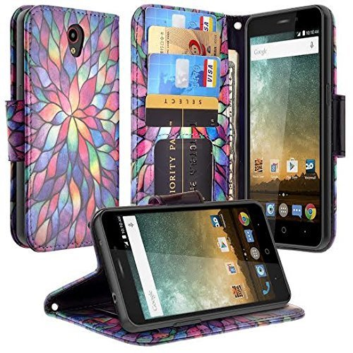 ZTE Maven 3 Case, ZTE Overture 3 Case, ZTE Prelude Plus Case, Luxury PU Leather Wallet [Wrist Strap] Protective Case Cover with Card Slots and Kickstand, Rainbow
