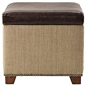 Amazon Com Ethan Storage Ottoman In Brown Leather With