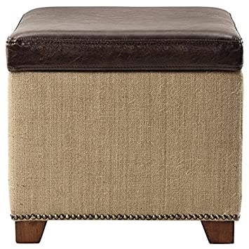 Ethan Storage Ottoman in Brown Leather with Burlap