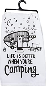 "Primitives by Kathy LOL Made You Smile Tea Towel, 28"" Square, Better When You're Camping"
