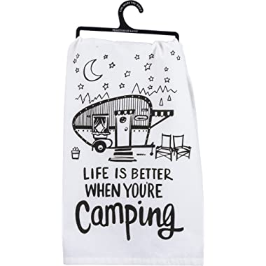 Primitives by Kathy LOL Made You Smile Tea Towel, 28  Square, Better When You're Camping