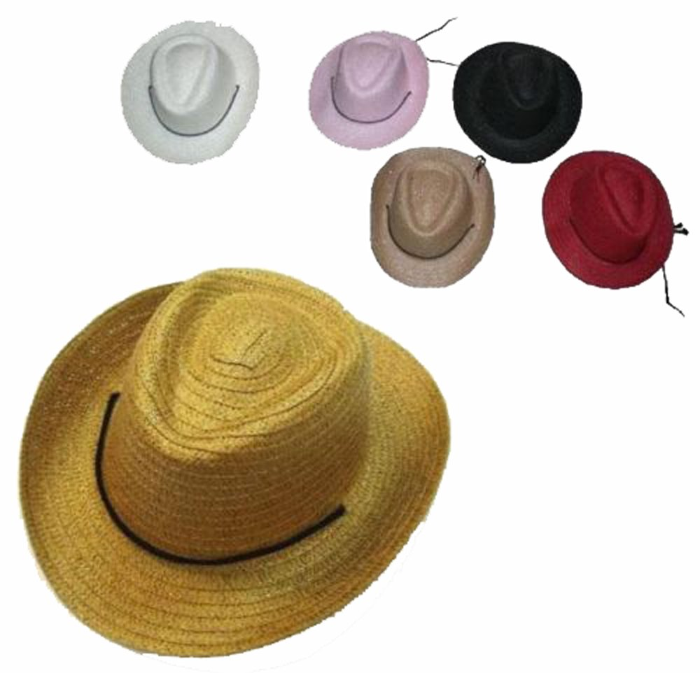 6 Assorted Color Straw Childrens Cowboy / Cowgirl Hat with Chin Strap / Bulk Lot Kids Hats
