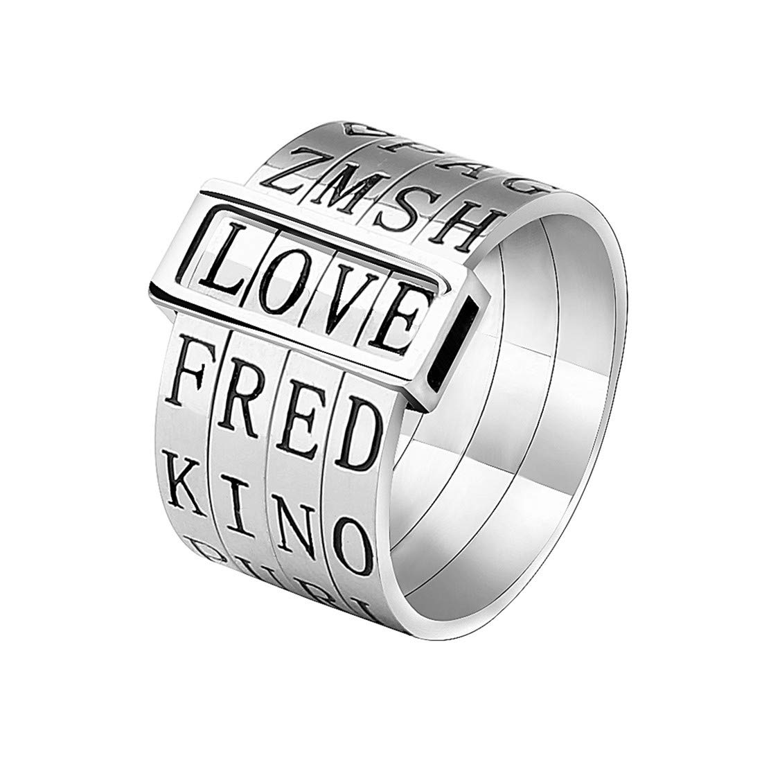 YWJ Unique Jewelry Titanium Wide Band Engraved Spinner Ring Love Gift for Women Men Kids