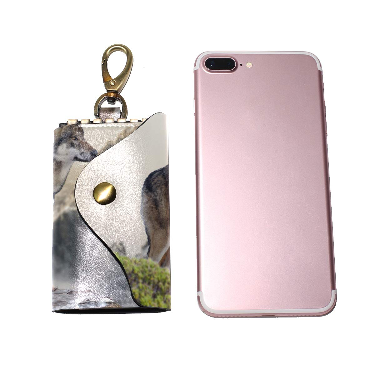 KEAKIA Wolf On The Mountain Leather Key Case Wallets Tri-fold Key Holder Keychains with 6 Hooks 2 Slot Snap Closure for Men Women