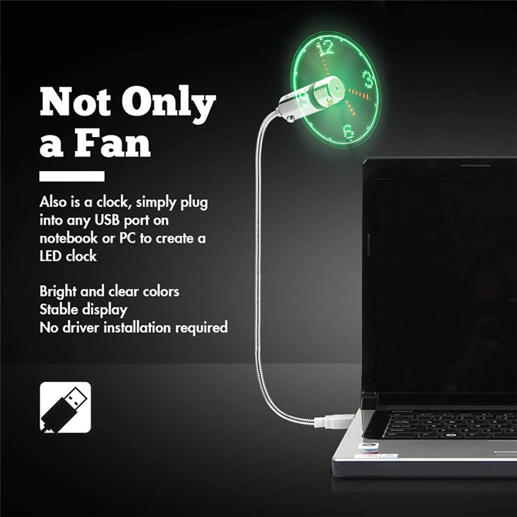 Fansport LED Fan Portable Flexible Mini Desktop Fan USB Fan with Clock for Notebook Computer