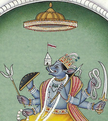 Varaha Incarnation of Lord Vishnu Seated on Seven Trunked White Elephant - Water Color on Paper - Ar
