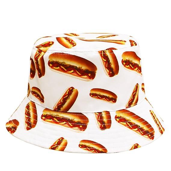 77f034e1c5b City Hunter Bd1950 Food Bucket Hat - White Hot Dogs  Amazon.in ...