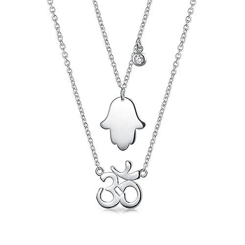 Yoga Sanskrit Symbol Hamsa Hand Of God Aum Om Ohm Pendant Necklace For Women For Teen 925 Sterling Silver