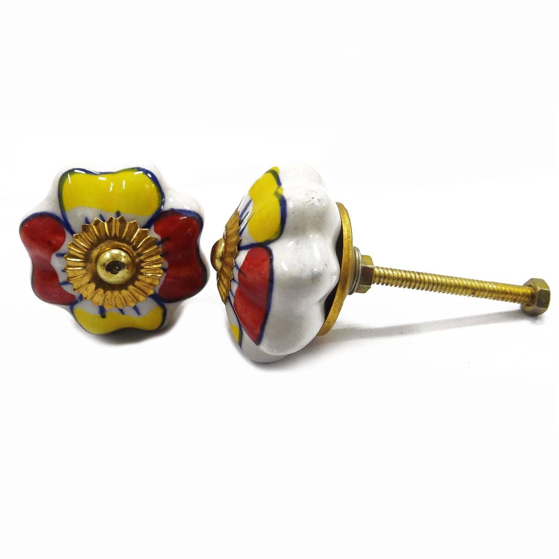 Floral Round Shape Kitchen Cabinet Pull Ceramic Door Knobs Door Handle Knob 2 Pcs