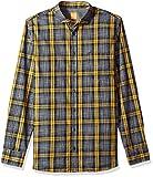 BOSS Orange Men's Cattitude Woven Plaid Pattern Long Sleeve Shirt, Medium Yellow, Medium