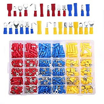 480pcs Electrical Wire Terminals Assorted Insulated Crimp Spade Connectors Set S