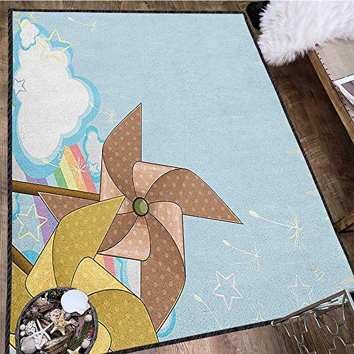 Vintage Rainbow Vintage Area Rug,Fantastic Blue Sky with Clouds Stars Dandelion Seeds and Two Pinwheels Protect Floors Multicolor 63
