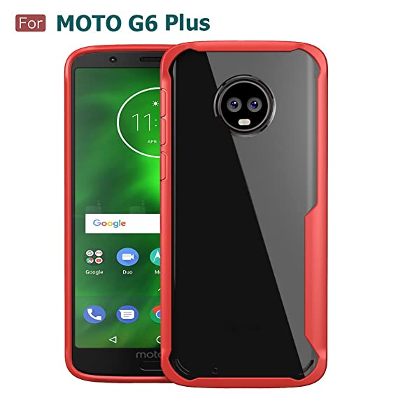 new product 39309 ab164 Moto G6 Plus Case, Wellci Flexible TPU Soft Skin Silicone Cover for Moto G6  Plus/Moto G Plus (6th Generation) (Elegant Red)