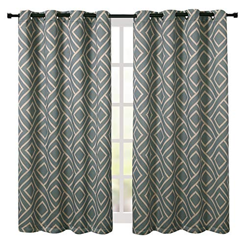 - MoMA Blue/Coffee Color Geometric Patterned Two Piece Curtains (50