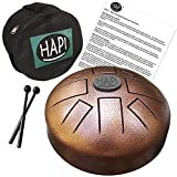 HAPI HDMINIDAKE Tongue Drum 8' Mini Steel Percussion Instrument - great for Camping, Yoga, Meditation, Music Therapy - D Akebono Pentatonic with FREE padded travel bag