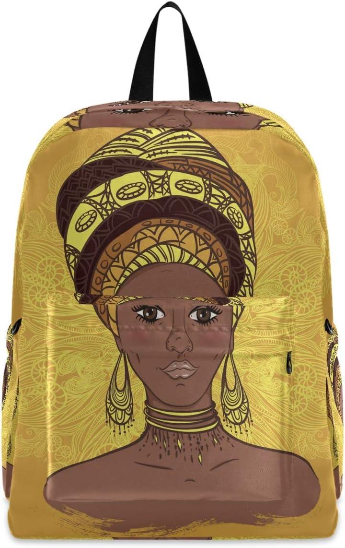 Casual Backpack Travel Bookbag Beautiful African Woman Mandala College School Backpack for Women Men Hiking Cyclingg Biking Camping Fits up to 15.6 Inch Laptop