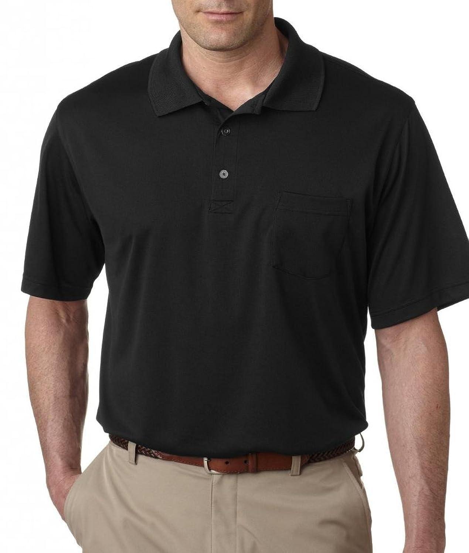 UltraClub Men's Tall Cool - Dry Sport Mesh Performance Polo Shirt 8405T XL TALL Black
