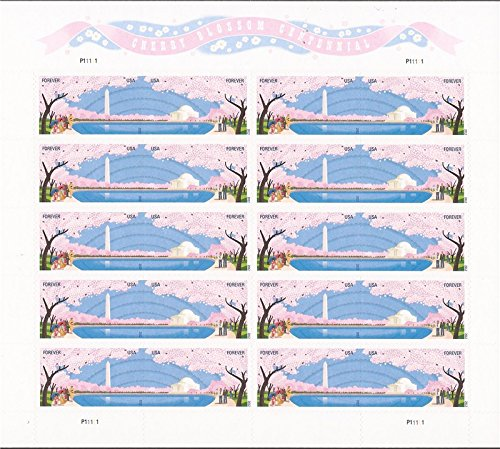 Washington Dc Cherry Blossom Centennial Sheet of Ten Forever Stamps Scott 4651-52